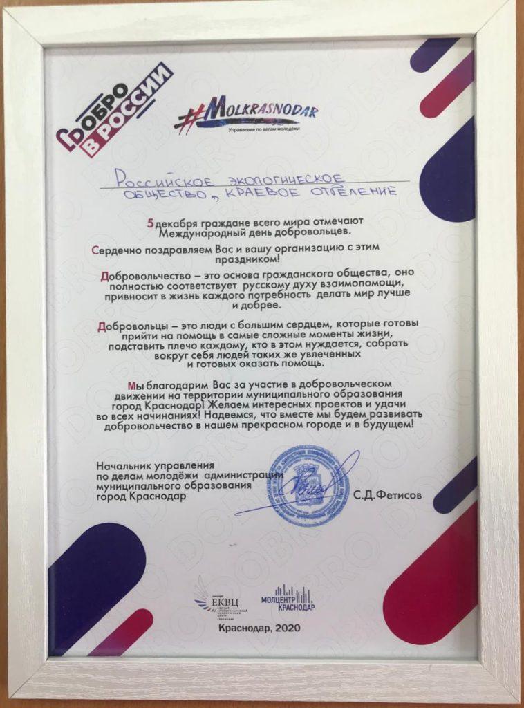 Краснодарское региональное отделение Российского экологического общества было удостоено Благодарственным письмом от Департамента по молодежной политике муниципального образования город Краснодар.